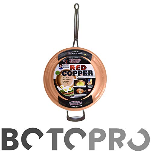 BOTOPRO - Sartén Red Copper 24cm, la sartén Que no se Raya y Nada se Pega en Ella