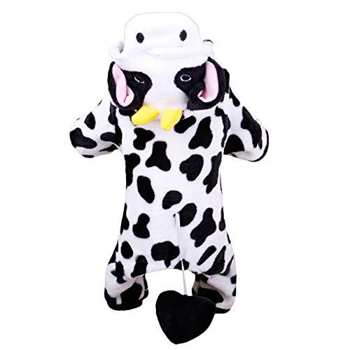 Human Dog Kostüm - Sen-Sen Super warme Coral Velvet Hundemantel Cosplay Milch Kuh Hund Jacke Hund Hoodie schwarz & weiß L
