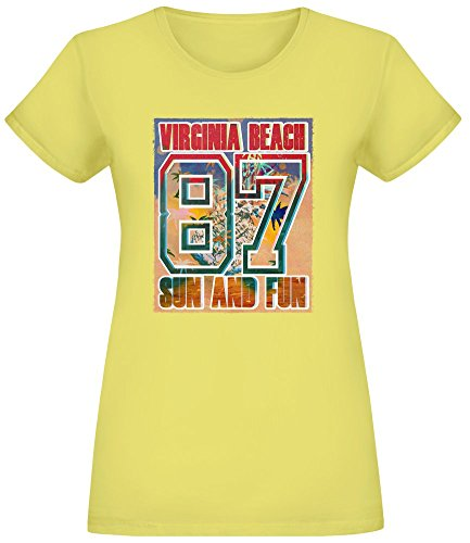 Virginia Beach T-Shirt Top Short Sleeve Jersey for Women 100% Soft Cotton Womens Clothing Large