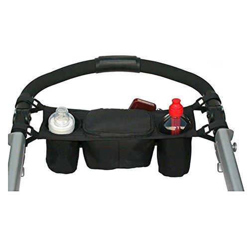 Rrimin Stroller Bag Kids Baby Stroller Safe Console Tray Pram Hanging Black Bag/Bottle Cup Oxford Bag