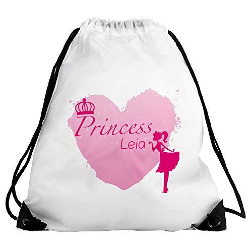 Eurofoto Turnbeutel mit Namen Leia und Prinzessin-Motiv - Princess Leia - für Mädchen | Sport-Beutel für Kinder | Gymbag (Namen Prinzessin Leia)