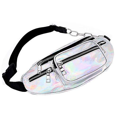 RETYLY Hüfttasche Wasserdichte Holographische Gürteltasche Für Frauen Neon Gl?nzend Schillernd Gürtel Tasche Verstellbarer Gürtel Mode Hüfttaschen Für Party, Festival usw (Silber)