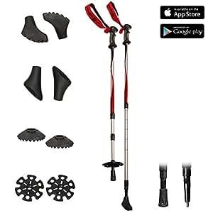 Bâtons de marche nordique télescopiques (67 à 137 cm) - Randonnée / Nordic Walking / Trekking - 6 embouts anti-chocs et 2 rondelles neige