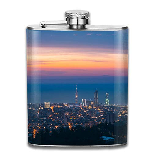 flasks for Men Stainless Steel Flasks 7 Oz Batumi-adjara-Georgia-Panorama-Aerial-View-of Whiskey Flask Hip Flask Leak Proof Wine Men Women -