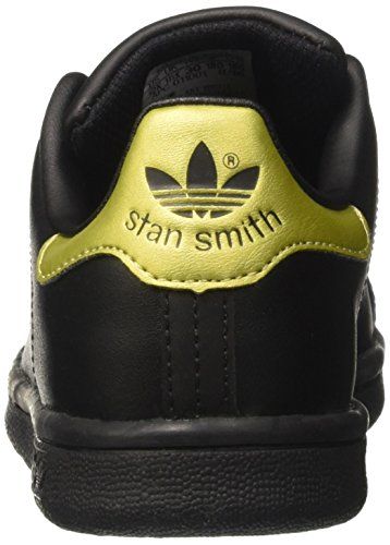 adidas Unisex-Kinder Stan Smith Sneaker Low Hals Schwarz (Core Black/core Black/gold Metallic)