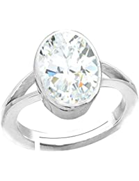 Natural Zircon Stone Silver Adjustable Ring 7.5 Ratti (6.8 carats) Rashi Ratna Origional and Certified by GEMOLOGICAL LABORATORY OF INDIA (GLI) Jarkan Precious Gemstone Chandi Free Size Anguthi Unheated and Untreated Top Quality Gems for Astrological Purpose by Accurate Traders