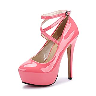 Ochenta Damen Glitzerschuh Bride Knöchel sexy High Heel Plattform Dick Schnürverschluss schuhe Club Soiree, - #2 PU Peche Rouge - Größe: Asiatique 43-EU Taille 42.5