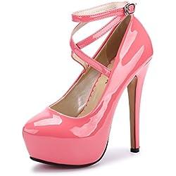 OCHENTA Zapatos con Tacon Alto para Mujer Plataforma #01 PU Melocoton Rojo 43
