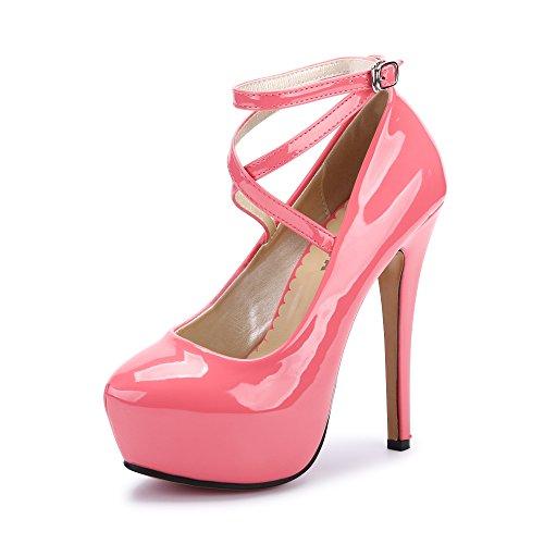d5b808dd931 OCHENTA Femme Escarpins Bride Cheville Sexy Talon Aiguille Plateforme Epais  Fermeture Lacets Chaussures Club Soiree PU