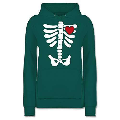 Shirtracer Halloween - Skelett Herz Halloween Kostüm - XL - Türkis - JH001F - Damen Hoodie