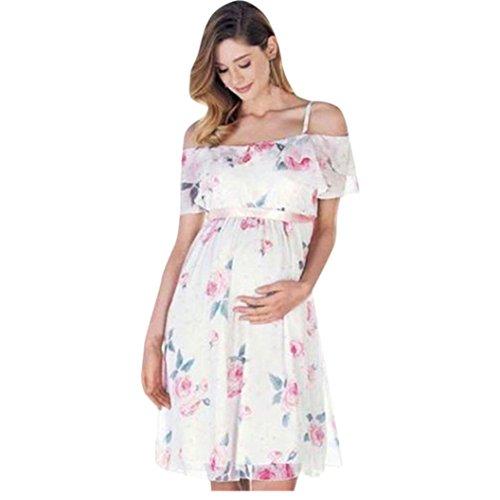 Trada Umstandskleid, Kleidung Damen Mutter Floral Falbala schwanger Schulterfrei Kleid für Umstandsmode Hochzeit Schwangere Kleid Festlich Schwangere Kleider Elegant Kleider (L, Weiß)