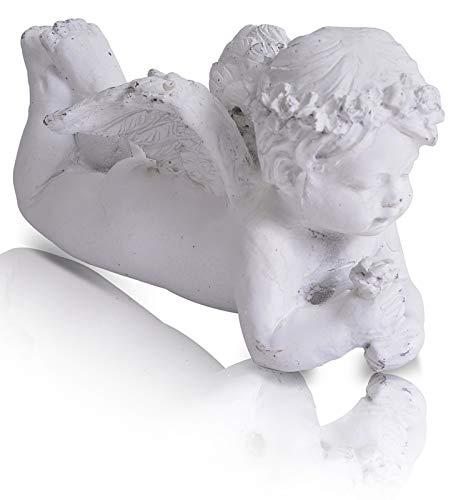 CHICCIE Engel Figur liegend weiß - Schutzengel Weihnachtsengel Dekoengel (Hochzeit Flügel Fee)