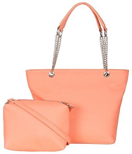 ADISA Peach Women Handbag with Sling Bag Combo
