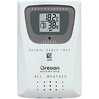 Oregon Scientific THGR810 - Sensor de temperatura y humedad, batería AAA, 6,35 cm, 1,9 cm, 9,52 cm, LCD, blanco