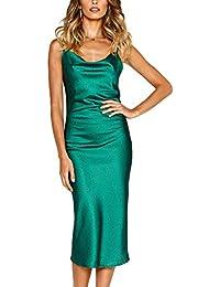 96ab9a27f49497 Angashion Damen Sommer Kleid Blumenmuster Midikleid Spaghettiträger  Partykleid V-Ausschnitt Cocktailkleider