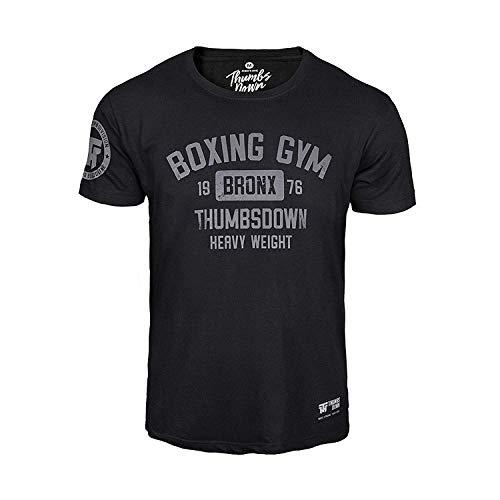 Thumbs Down Gimnasio Boxeo Camiseta Bronx Pesado Peso. MMA. Gimnasio Entrenamiento. Marcial Artes Informal - Negro, XL