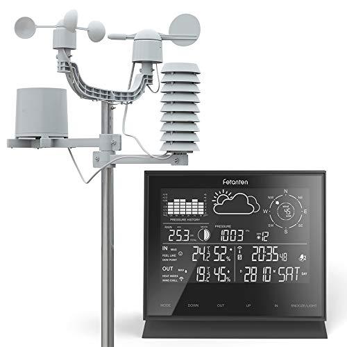 Fetanten Funk Wetterstation mit Temperaturwarnung und Außensensor für Barometer, Temperatur, Luftfeuchtigkeit, Luftdruck, Mondphase, Windgeschwindigkeit, Windrichtung und Regenmesser (Niederschlag)