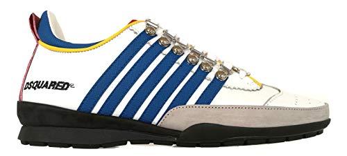 DSQUARED Scarpe Sneaker Vitello + Texture GOM. Uomo W16SN131 912 M313 Bianco Blu