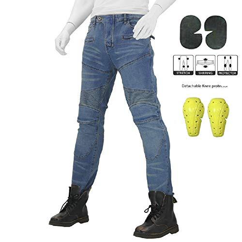 djeans Herren Frau Jeans mit Schutzfunktion, Taschen für Knieprotektoren, Baumwolljeans Blau (M- (Waist 33