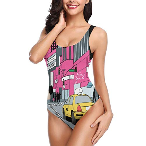 Womens Times Square (View of Manhattan and A Taxi Cab at Times Square One-Piece Swimsuit for Women Swimwear Monokini for Training L)