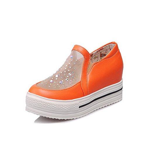 Damen Ziehen auf Mittler Absatz Blend-Materialien Rein Pumps Schuhe, Schwarz, 35 VogueZone009