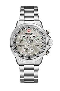 Swiss Military SM34208AEU/H05MS - Reloj de cuarzo para hombres con esfera gris y correa plateada de acero inoxidable de Swiss Military