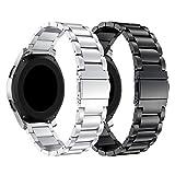 SUPORE Compatible Samsung Gear S3 Reloj Correa, Samsung Galaxy Watch 46mm Acero Inoxidable Banda de Reemplazo Tres Hebilla de Cuentas Diseño Correa para Samsung Gear S3 Classic/Frontier