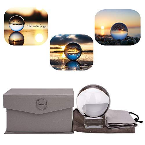 ADWIKOSO Kristallkugel Fotografie K9 Glas-Sonnenfänger Kugel mit Tasche Deko Ornamente mit Ständer 60mm Set (Kugel Ornamente Glas)