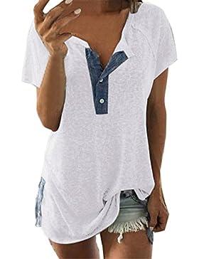 Blusa de Casual de Manga Corta para Mujer Suelto Blusa con Botones Camiseta Tanque Tops Shirt