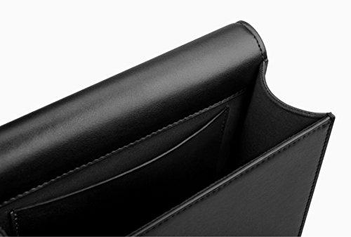 ZPFME Womens Cartella Borse A Tracolla Pelle Moda Signora Affari Viaggi Messenger Black