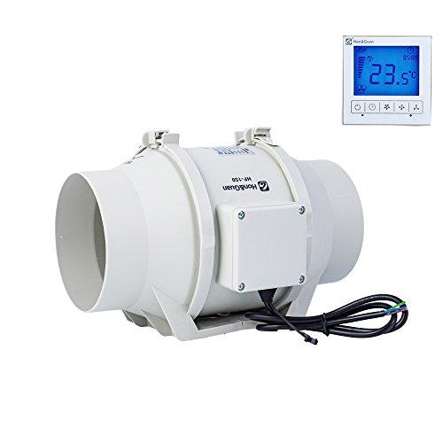 Hon&Guan 150mm Rohrventilator Abluftventilator Timer mit Intelligenter Schalter für Zimmer Bad Küche - Drei Geschwindigkeit (Ø150mm)