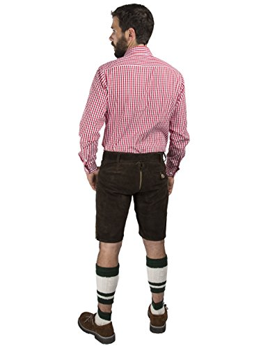 Herren Lederhose Wiesnjäger mit Trachtengürtel - Herren Trachtenlederhose Oktoberfest mit Gürtel - Trachtenhose kurz (46, dunkelbraun) - 4