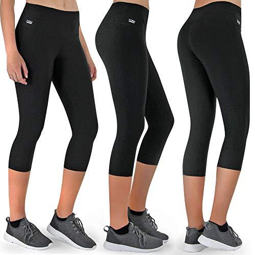 Formbelt Fitness Leggings Damen 3 4 Capri Leggings schwarz Muster (schwarz, S)