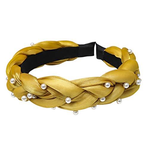 Damen Haarband, TTWOMEN Mode Bogen Knoten Frauen Helle Seide Kopf Hoop Einfache Süße Mädchen Haar Stirnbänder (Gelb-C) -