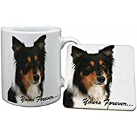 """Tri-colour Border Collie Dog """"Yours Forever..."""" Mug and Table Coaster, Ref:AD-CO33yMC"""