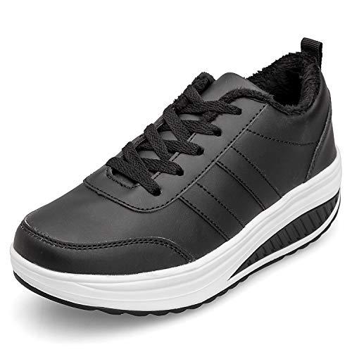 Scarpe ginnastica donna invernali zeppa scarpe dimagranti sneaker casual tennis piattaforma running fitness sportive outdoor scarpe passeggio 38.5eu = produttore:39