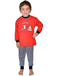 2 tlg. Kinder Schlafanzug Kinderschlafanzug Pyjama Maus Sailing Farbe: Rot, 100% Baumwolle, Größe 92 - 116 Größe 116