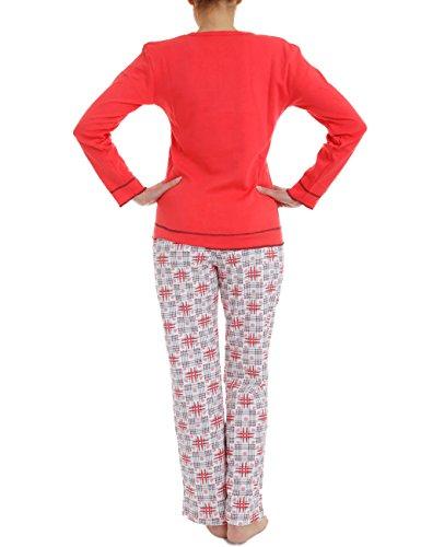 LisaModa Damen Schlafanzug Baumwolle mit Motiv Rot