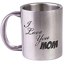 "HotMuggs""I Love You Mom"" Stainless Steel Mug, 350ml, Silver"
