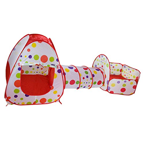 Segolike Folding Kids 3-in-1 Dotted Playhouse Tunnel Ball Pool Tent Outdoor Garden Fun Toy