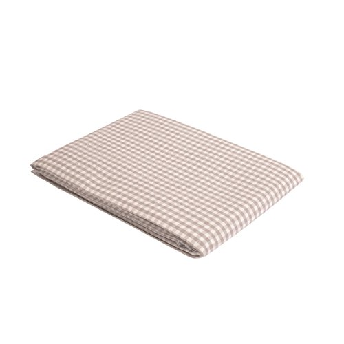 """Vaitkute 210035 Halbleinen Tischdecke """"Karo"""" 140 x 140 cm, mit Briefecken, 50% Leinen und Baumwolle, 60 Celsius waschbar, 210 g / m2, weiß / grau kariert"""