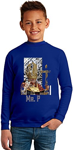 ZEUS Excentric And Holy Pope Mr. P Superb Quality Boys Sweater by BENITO CLOTHING - 50% Cotton & 50% Polyester- Set-In Sleeves- Open End Yarn- Unisex for Boys and Girls