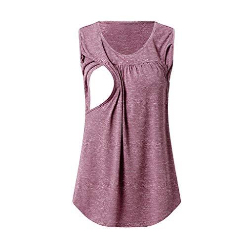 WUSIKY Sommer Frauen Schwangere Bluse Mutterschaft Pflege Tops Plissee Vorne Stillen Kleidung Umstandsmode Shirt Mutterschaft (Hot Pink,M) -