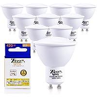 GU10 LED lampadine a risparmio energetico 5W (x10) -Halogen 50W Spotlight sostituzioni-90% di risparmio su luce bianca di illuminazione bollette-naturale con angolo di apertura di 120