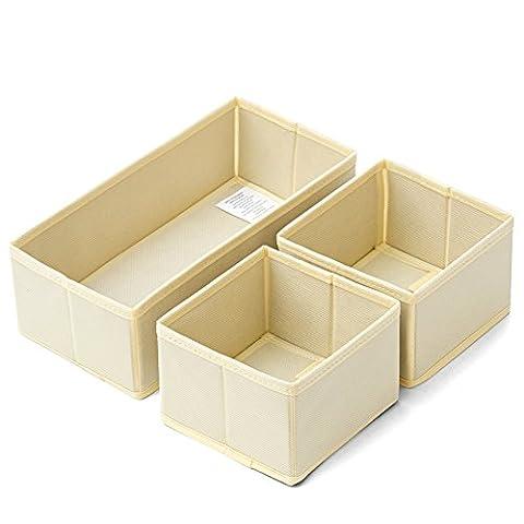 EZOWare 3 Piece Set Foldable Storage Drawer Closet Dresser Organizer Bins for Underwear, Bras, Socks, Ties, Scarves, Accessories and More -