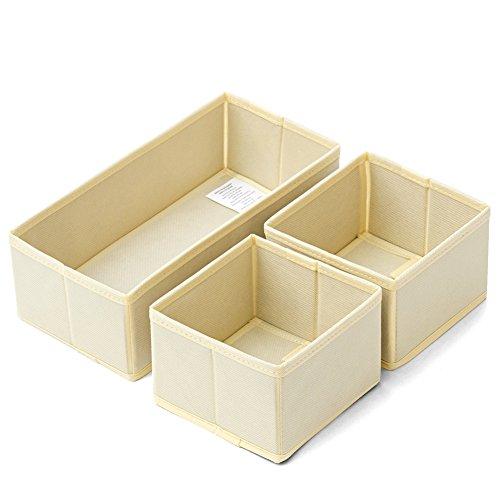 Schlafzimmer Schrank Organisatoren (Aufbewahrungsbox, EZOWare 3er-Set Faltbare Aufbewahrungskiste ohne Deckel Regalfach - Beige M+S+S)