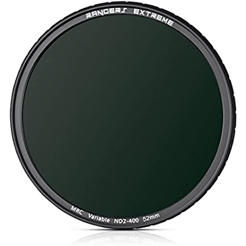 Rangers® 52 mm variable ND2 - ND400 Filtro MRC - Ultrafino Ultrafinoultrafino 20-capas múltiples de revestimiento, Resistente a los arañazos, Prueba de Aceite Prueba de Aceite Repelente agua Repelente Agua Construido German Schott Cristal óptico