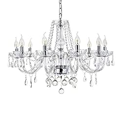 Dst Marie Therese 10 Arms Crystal Chandelier, Clear K9 Crystal Droplets Glass Pendant Lamp Elegant Luxury Ceiling Light Fixture for Dining Room, Living Room, Foyer, Lounge, Bar D80cm H60cm Chain 60cm