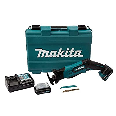 Makita JR105DWAE Reciptocating Saw with 2 x 2 A Battery and DC10WC Charger - Blue (7-Piece)