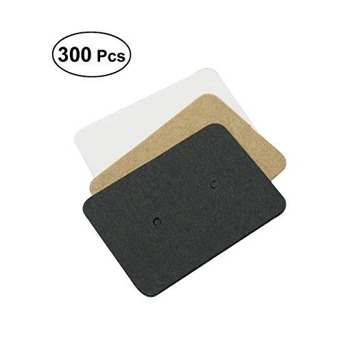 healifty 300Stück Papier Ohrring Display Tag Ohr Ohrstecker Display Karten Halter (weiß schwarz braun) (Halskette-card-inhaber)